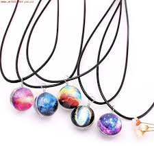 womens necklaces pendants vintage colorful leather rope galaxy planet star glass ball pendant women necklace 1222402