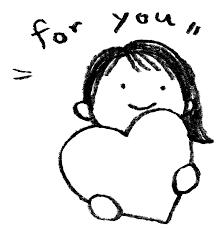 バレンタインハートを持った女の子のイラスト えんぴつと画用紙
