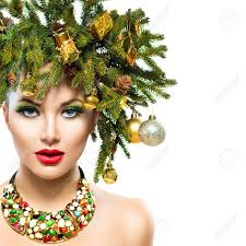 new year and tree holiday hairstyle and makeup stock photo 33708791