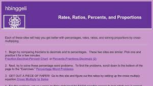 Minutes To Percentage Chart Rates Ratios Percents And Proportions Curriki
