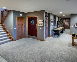 basement carpeting ideas. Exciting Conventional Basement With Gray Fur Carpet Ideas Comely Wall To Carpeting E