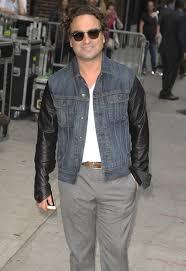 johnny galecki rag bone denim jacket with leather sleeves clean sheffield 2