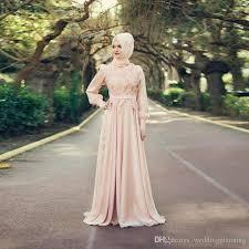 peach wedding dress. Discount 2018 Muslim Peach Wedding Dresses High Neck Long Sleeve