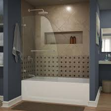 dreamline aqua uno 34 in x 58 in frameless pivot tub door in brushed