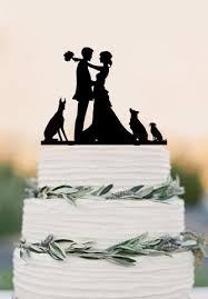 Custom Wedding Cake Topperbride And Groom With Dogsfunny Wedding
