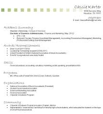 Gallery Of College Business Student Resume College Graduate No