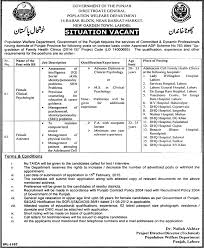 Clinical Assistant Jobs Female Assistant Job Lahore Population Welfare Department Job