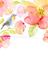 fl watercolor background with beautiful flowers stock ilration ilration of element birds