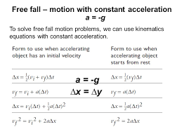 free fall motion with constant acceleration a g