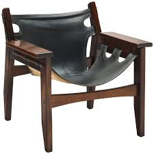 sergio rodrigues black leather kilin lounge chair