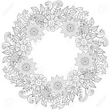 Floral Doodles Wreath In Zentangle Ornamental Style Vector Circle
