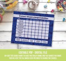 Hockey Kids Chore Chart Printable Responsibility Chart Weekly Chore Chart Editable Hockey Daily Chore Chart For Boys Edit Pdf