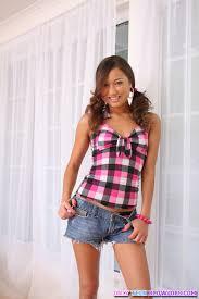 Hot teen gal Jesse Jordan strips her denim shorts and shows us her.
