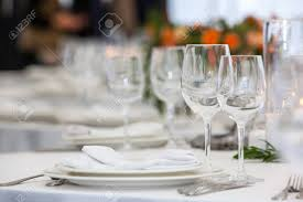 glasses table setting. Stock Photo - Table Setting With Glasses For Different Drinks On Room Background L
