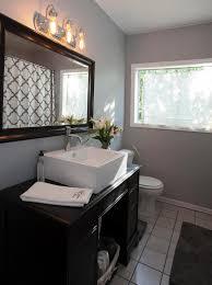 bathroom modern white. Bathroom, Modern White Basin Black Cabinet Brown Shower Wall Tile Plain Ceiling Dark Grey Floor Bathroom