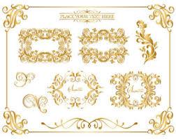 Instant Download Golden Digital Frame Corner Ornate Gold