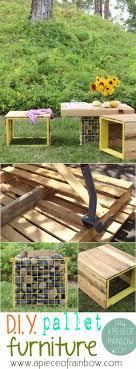 garden pallet furniture. Make Pallet Garden Furniture: Benches And Gabion Table - Www.apieceofrainbow.com Furniture