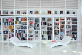 contemporary library furniture. Architecture, Contemporary White Home Library Design With Lounge Chair And Bookshelves: Fabulous Furniture