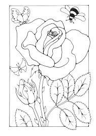 Small Picture Coloring page rose with bee and butterfly coloring picture rose