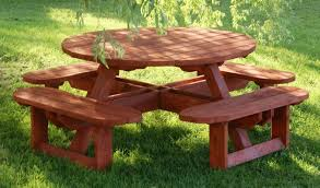 round wooden picnic table by size handphone