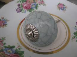 Duck-egg BLUE crackle glaze ceramic KNOB handle pull for furniture ...