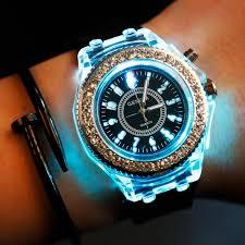 mens luminous led watches geneva diamond stone crystal watch led mens luminous led watches geneva diamond stone crystal watch 7 colors led light watch unisex silicone