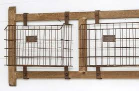 wall mounted basket rack with rustic wood frame