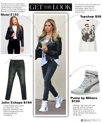 get ashley tisdale s look studded leather jacket wedge puma sneaker