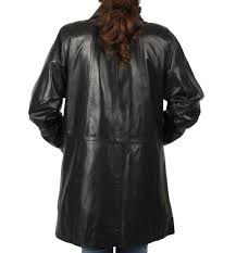 sl114621 las knee length a line black leather coat