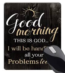 Wknoon Vintage Rustic Wood Bible Verse Scripture Quotes Mouse Pad Good Morning This Is God I Will Be Handling All Your Problems Today Inspirational