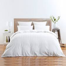 sateen stripe quilt cover set white target australia