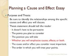 the cause and effect essay to understand the relationship of  planning a cause and effect essay purpose and thesis ◦ be sure to identify the