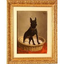 great 1900 dog portrait painting miniature doberman pinscher