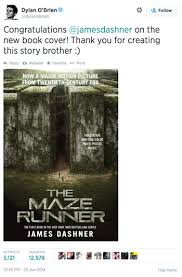 dylan o brien tweeted the new book cover for the maze runner tie in edition last night pre order yours today