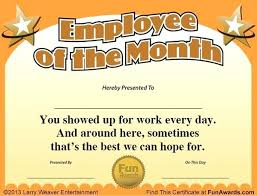 Office Award Employee Award Template Employee Of The Month Certificate Template
