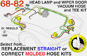 1968 corvette molded headlamp wiper door vacuum hose kit