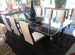 beautiful beveled glass dining table with 8 chairs