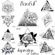 Baofuli эскиз розы треугольники цветок татуировки геометрические
