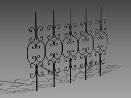 Ornate wrought iron fence 3d model 3dsMax3dsAutoCAD files free