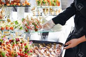 cafeteria server stock photos pictures royalty cafeteria cafeteria server waiter meat dish serving catering table food snacks stock photo