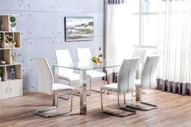 dining table steel chairs clear glass and brushed stainless steel metal dining table and 6 white dining table steel chairs