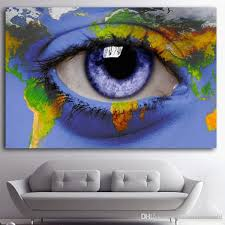 2018 1 panel whole oil painting abstract blue eye world map drawing spray poster canvas painting frameless home decor artwrok no framed from