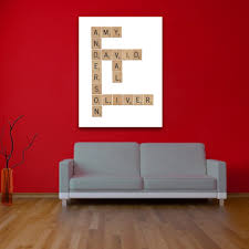 family scrabble personalised wall art on personalized wall art canvas with family scrabble personalised wall art canvas wall art print