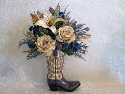 Silk Arrangements For Home Decor Rustic Silk Flower Arrangement In A Cowboy Boot Vase With A