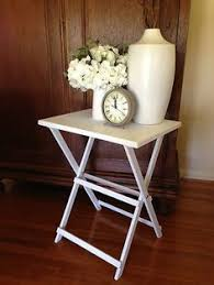 fold up chairs with side table. new white fold up butlers style side table bedside french provincial shabby chic | ebay up chairs with
