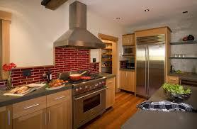 Red Brick Backsplash Kitchen Rustic With Apron Sink Brick Kitchen