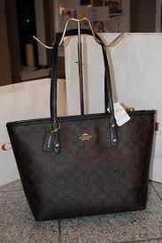 NWT COACH BROWN BLACK PVC LEATHER SIGNATURE CITY ZIP TOTE BAG PURSE 58292  Cheap Handbags,