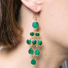green emerald chandelier gold drop earrings