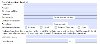 marriot credit card authorization form guest information