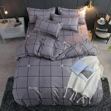 brown bedding sets queen style gray grid duvet cover bed set pillowcase flat sheet king double full twin from interior design
